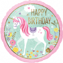 "Unicorn Foil Balloon - Birthday Unicorn (18"") 1pc"